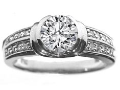 bezel set wedding rings | Bezel Set Diamond Engagement Ring with Sidestones 0.16 tcw. in 14K ...