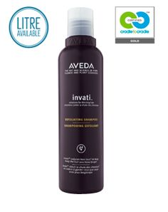 Invati Exfoliating Shampoo: Cleanses and renews the scalp. Also Aveda Invati Scalp Detox salon treatment, 60 GBP for 60 mins - works on congested scalps using detox oil, clarifying mask, exfoliating shampoo and conditioner + massages.