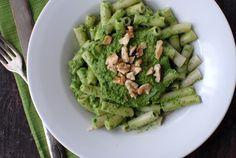 Kale Walnut Meyer Lemon Pesto with Brown Rice Penne via @Boulderlocavore