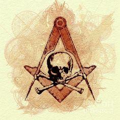 Painting - Freemason, Mason, Masonic Symbolism by Esoterica Art Agency , Masonic Art, Masonic Symbols, Skull Artwork, Occult Art, Freemasonry, Compass Tattoo, Deathly Hallows Tattoo, Wall Art, History