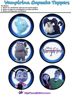 Printable Cupcake toppers from the Free Disney Junior Vampirina Printable Party Kit Dad Birthday Wishes, Birthday Gifts For Sister, Birthday Games, 3rd Birthday Parties, Girl Parties, Birthday Ideas, Party Kit, Baby Party, Vampire Party