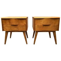 Pair of Wavy Front Nightstands by Edmond J. Spence | From a unique collection of antique and modern night stands at https://www.1stdibs.com/furniture/tables/night-stands/