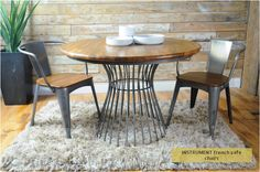 instrument WAREHOUSE round dining cage table (W110 x D110 x H70 cm) Light rustic stain colour. Wire base round dining table.