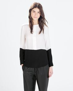 Image 1 of TWO-TONE LONG SLEEVE BLOUSE from Zara