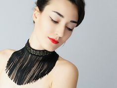 Ghedo // Fringe Choker / Statement Necklace/ Black Necklace/ Fringe Necklace/ Geometric/ Fashion Accessory/ Fringe Jewelry/ For Her