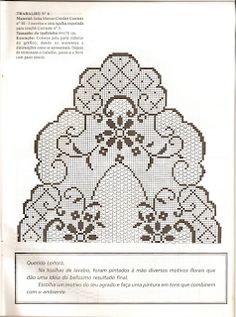 This Pin was discovered by Mic Crochet Patterns Filet, Crochet Tablecloth Pattern, Crochet Motif, Crochet Designs, Cross Stitch Fruit, Cross Stitch Fabric, Crochet Dollies, Fillet Crochet, Crochet Table Runner