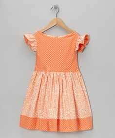 Take a look at this Apricot Floral Polka Dot Angel-Sleeve Dress - Toddler & Girls by HootyCutie Designs on #zulily today!