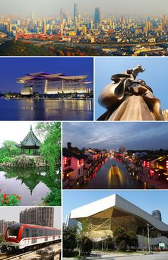 WUXI, China - From left to right: Wuxi skyline, Wuxi Grand Theatre, the Grand Buddha at Ling Shan, Liyuan garden, Qingmingqiao ancient town, a train on Line 1, Wuxi Metro, and Wuxi Museum