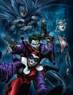 The Joker and Harley Quinn Vs. Catwoman and Batman by Brian Fajardo Comic Books Art, Comic Art, Marvel Dc, Harley Quinn Et Le Joker, Dc Comics, Archie Comics, I Am Batman, Harley Batman, Dc Characters