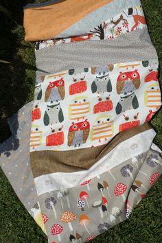 Woodland Minky Blanket  Modern Patchwork Toddler by laruedefleurs