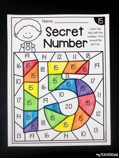 Secret Numbers To 20 Students Color The Number Shown Which Will Reveal A Secret Number There Are Worksheets Included For Numbers To 20 Kindergarten And Pre K Numbers Kindergarten, Kindergarten Readiness, Numbers Preschool, Learning Numbers, Kindergarten Classroom, School Classroom, Preschool Number Worksheets, Preschool Learning Activities, Kindergarten Worksheets