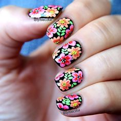 Flowers shared by Cristabel on We Heart It Image discovered by Cristabel. Find images and videos about flowers, nails and nail art on We Heart It - the app to get lost in what you lov Cute Nails, Pretty Nails, My Nails, Spring Nails, Summer Nails, Mexican Nails, Nail Designs 2015, Floral Nail Art, Fabulous Nails