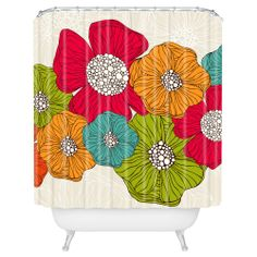 The Valentina Ramos 100-percent polyester curtain will bring beauty to any bathroom. Featuring a floral pattern with a red, blue, orange and green finish, this one of a kind curtain is machine washable for easy care and repeated use.