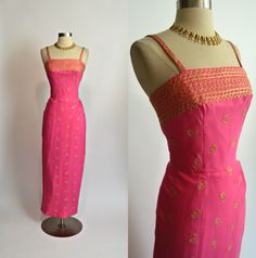 "KAY SELIG 1950's 1960's Vintage Bright Pink with Gold Embroidery Floor Length Sarong Wiggle Evening Gown 27"" Waist Small Medium by RubyFayesVintage on Etsy https://www.etsy.com/listing/476533630/kay-selig-1950s-1960s-vintage-bright"