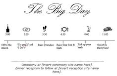 this is about the timeline i would probably follow. ceremony starting at 2 or 3. possibly 1 depending :)
