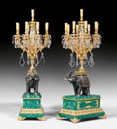 Maria Magdalena, Chandelier Lamp, Chandeliers, Bronze, Elephant Love, Paris, Malachite, Cut Glass, Candlesticks