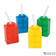 Color Building Brick Party Molded Cups with Straw & Lid- 8 Count