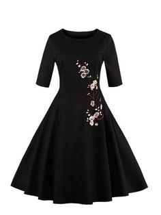 31e3738ce4a Plum Blossom Embroidered Applique Circle Dress -SheIn(Sheinside) Floral  Sequin Dresses