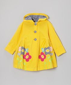 Another great find on #zulily! Yellow Gingham Flower Hooded Swing Coat - Toddler & Girls by Maria Elena #zulilyfinds