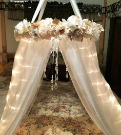Shabby Chic Canopy-Baby Canopy-Crib Canopy-Bed Canopy-Flower Canopy-Beaded Canopy-Floral Canopy-Lighted Canopy-Reading Nook-Flower Mobile by DesignsByANM on Etsy https://www.etsy.com/listing/415639969/shabby-chic-canopy-baby-canopy-crib
