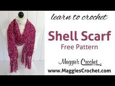 ▶ Beginner Shell Scarf Free Crochet Pattern with Hipster & Enchant Yarn - Right Handed - YouTube