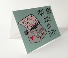 Youre Just My Type Pun Card with Envelope Blank inside via Etsy