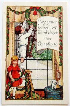 Deck the Halls! ~ Vintage Christmas postcard, ca. 1920s