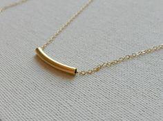Gold necklace 14k gold filled bar necklace