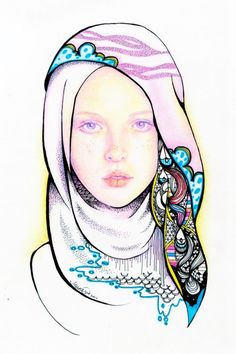 Hijab Drawing : Love her hijab - Hijab Combine Girls Bedroom, Hijab Drawing, Cowboy Theme, Ink Illustrations, Fashion Illustrations, Artistic Photography, Fashion Sketches, Love Her, Art Drawings