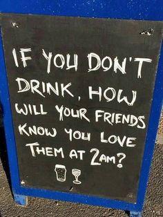 Friends love alcohol bar sign