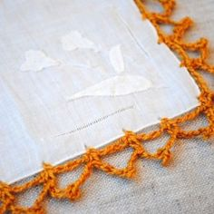 On the blog today- how to crochet around a hankie!