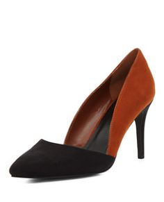 Wide Fit Black Two Tone Pointed Heel | New Look