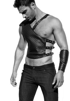 See explanation on the other pin of this. I just liked the angle of this outfit/shot better. Leather Armor, Leather Harness, Leather Men, Black Leather, Dark Fashion, Mens Fashion, Leather Fashion, Mens Crop Top, Androgynous Fashion