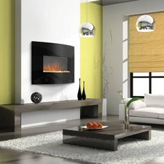 Napoleon EFC32 Curved Bay Wall Mount Electric Fireplace with Heater with dimensional wall