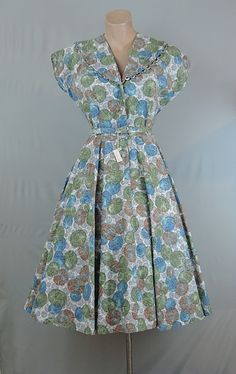 Dandelion Vintage - 1950s Penney's Brentwood Circles and Paisley Cotton Day Dress, fits 37 inch bust - $75.00