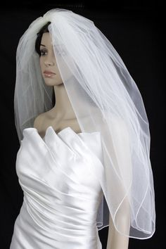 Bridal Wedding Veil Diamond (Off) White 2 Tiers Fingertip Length Pencil Edge -- Check out the image by visiting the link.