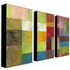 Enliven your wall with this three-piece abstract canvas art set. 'Abstract Color Panels IV' features bold blocks of color that form a singular piece when hung together. With many different hues, it will match easily with your current decor.
