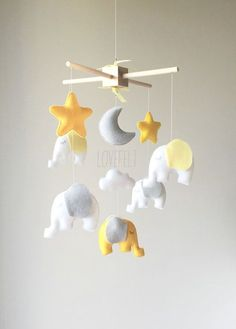 READY TO SHIP Baby mobile  Elephant Mobile  by lovefeltmobiles