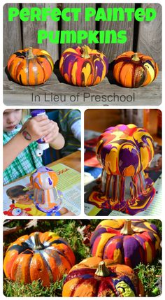 In Lieu of Preschool: Perfect Painted (Mini) Pumpkins!!  Easy enough for a toddler, but so fun the adults will want in on it, too! :)