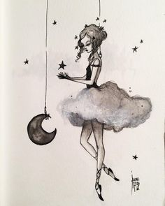"""Mon ange"" is today #badapples12days. Contact me for adoption :) #angel #ange #art #drawing #painting #ink #cloud #night #christmas #stars #dancer #magical #whimsical #poetry #dreamy #junel #fb #juneleeloo"