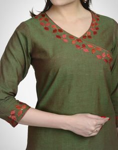 Top 50 Stylish And Trendy Kurti Neck Designs That Will Make You Look All The More Graceful Salwar Neck Designs, Kurta Neck Design, Neck Designs For Suits, Kurta Designs Women, Dress Neck Designs, Blouse Designs, Embroidery On Kurtis, Hand Embroidery Dress, Kurti Embroidery Design