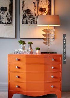 So cool - Paint dresser orange | CHECK OUT MORE DRESSER IDEAS AT DECOPINS.COM | #dressers #dresser #dressers #diydresser #hutch #storage #homedecor #homedecoration #decor #livingroom