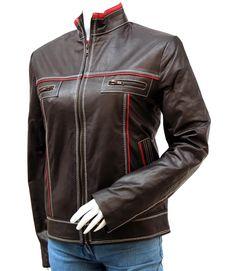 Women Two-Tone Leather Jacket