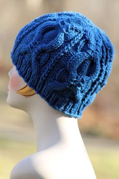 Banded Cable Beanie: made with roughly 125 yards of chunky weight yarn and size US 9 & 10 needles