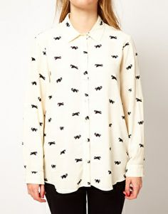 Plus Size Shirt In Racoon Print - $58.00 | Asos Curve [Plus Size Clothing]