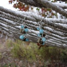 Unique Teal Dangly Earrings