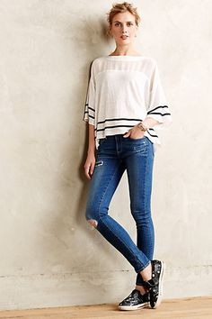 Mesh Stripe Tee - anthropologie.com