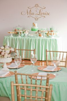 Christening Party by Little Sooti | The Sweetest Occasion | Mint and Gold floral centerpieces, baby christening, gold weddings, food tables, wedding desserts, mint, christening party, gold party, baby showers