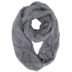 Gray Diamond Knit Plush Fuzzy Eyelash Circle Scarf ($20) ❤ liked on Polyvore featuring accessories, scarves, grey infinity scarves, circle scarves, knit loop scarf, loop scarves and knit tube scarf