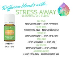 Young Living Stress Away essential oil is a popular blend created to combat every day stresses. Diffuse Stress Away at home or on the go. Young Essential Oils, Essential Oils For Headaches, Essential Oil Diffuser Blends, Doterra Essential Oils, Yl Oils, Essential Oils Stress Away, Oil For Headache, Young Living Oils, Young Living Stress Away